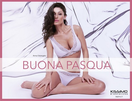 Anna Tatangelo : Buona Pasqua in Lingerie By Kissimo Biancaluna 2017